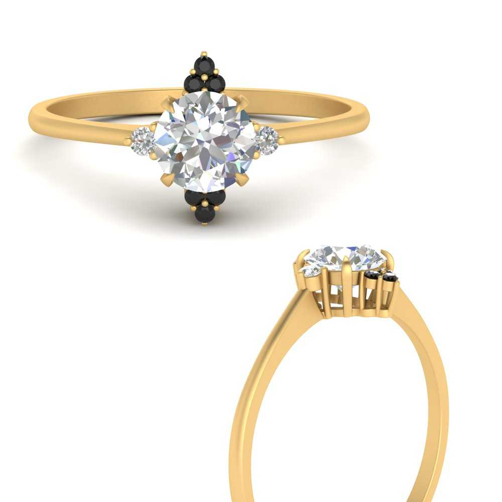 simple-vintage-round-engagement-ring-with-black-diamond-in-FD9605RORGBLACKANGLE3-NL-YG