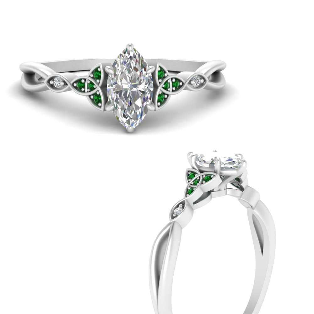 lce emerald engagementproposal ring white gold diamond and solitaire marquise