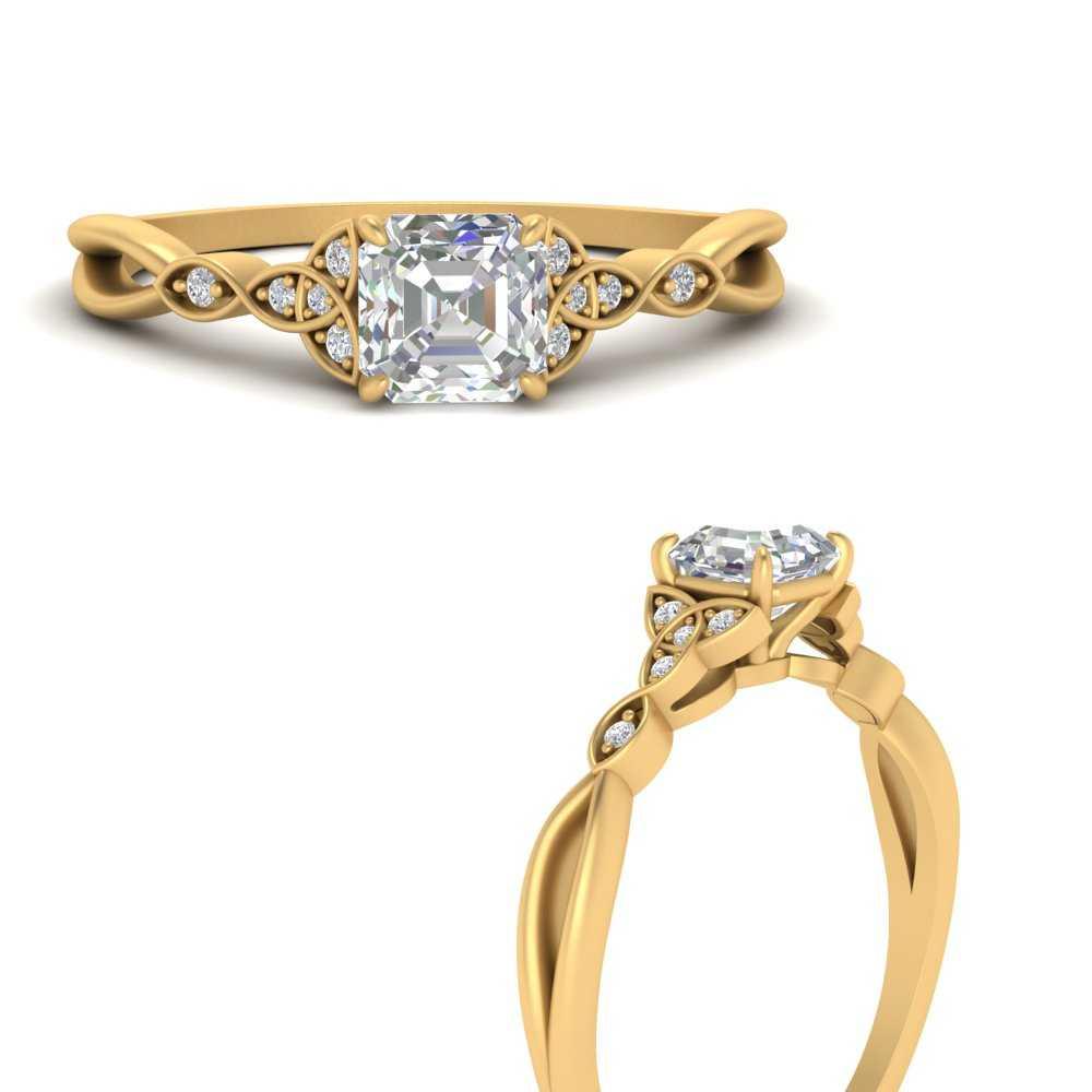 vintage-irish-knot-asscher-moissanite-engagement-ring-in-FD9609ASRANGLE3-NL-YG