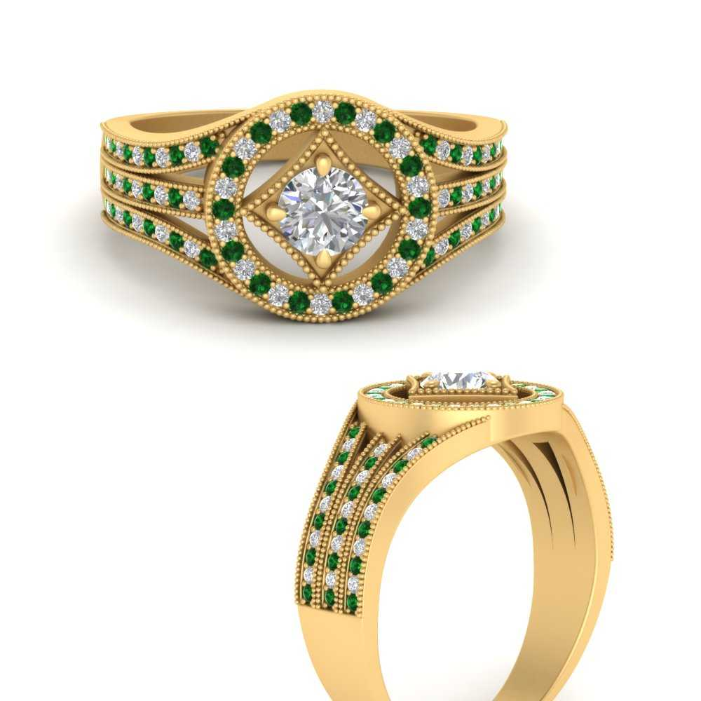 compass-point-halo-diamond-vintage-engagement-ring-with-emerald-in-FD9611RORGEMGRANGLE-NL-YG