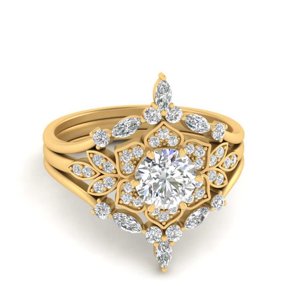 floral-halo-vintage-wedding-ring-set-in-FD9618RO-NL-YG