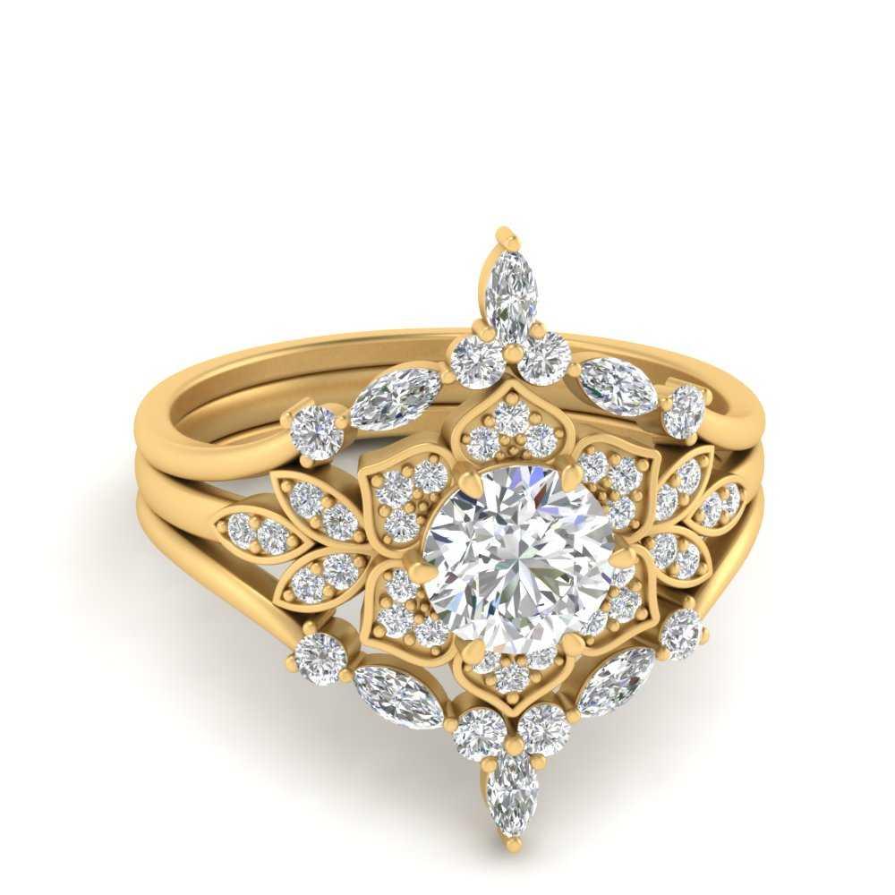 floral-halo-vintage-wedding-ring-set-in-FD9618RO-NL-YG