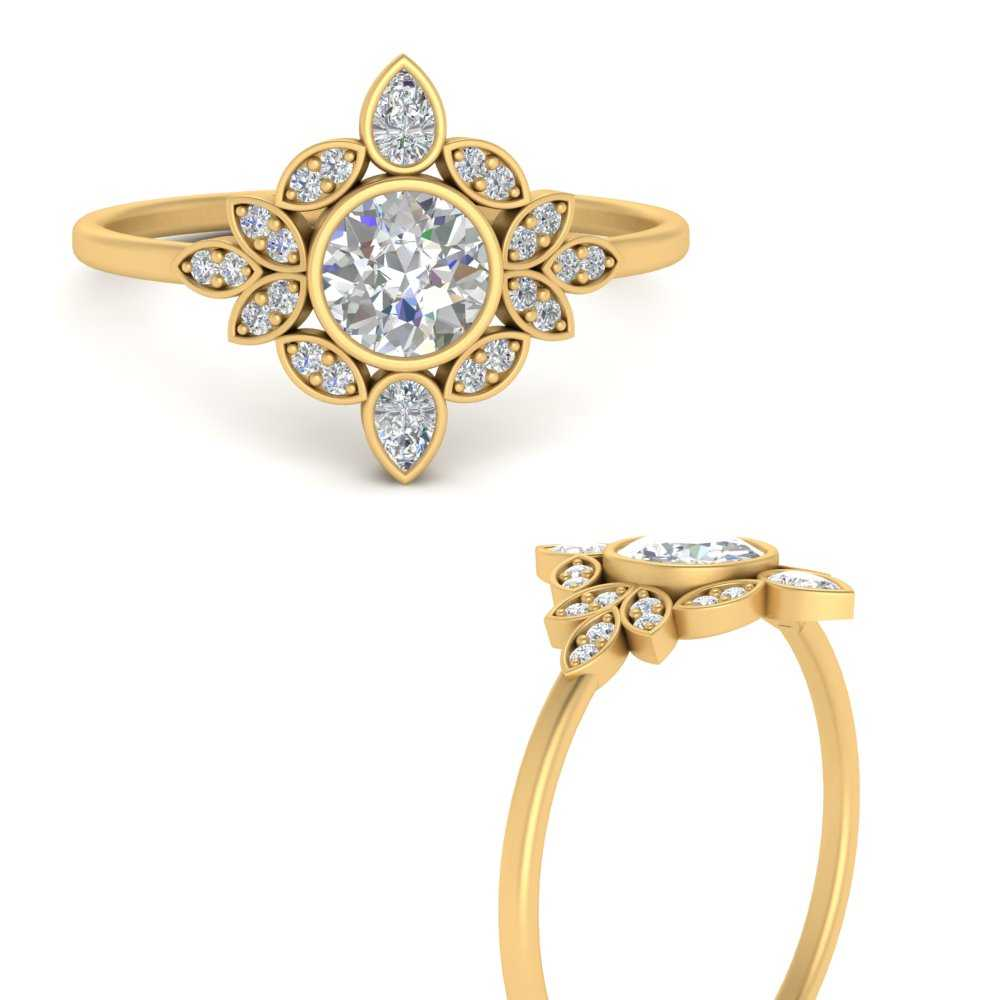 round-bezel-vintage-floral-diamond-engagement-ring-in-FD9630RORANGLE3-NL-YG