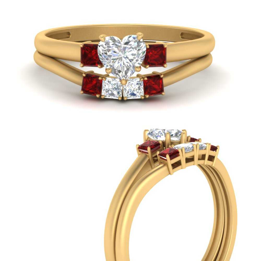 heart-3-stone-wedding-ring-set-with-ruby-in-FD9634HTGRUDRANGLE3-NL-YG