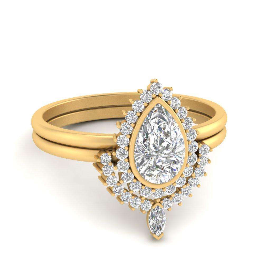 bezel-pear-shape-halo-diamond-wedding-ring-set-in-FD9650PE-NL-YG