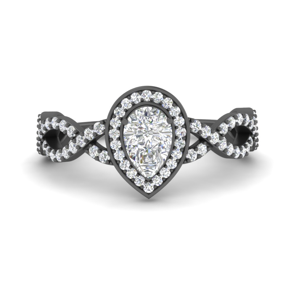 Twisted Black Gold Halo Ring