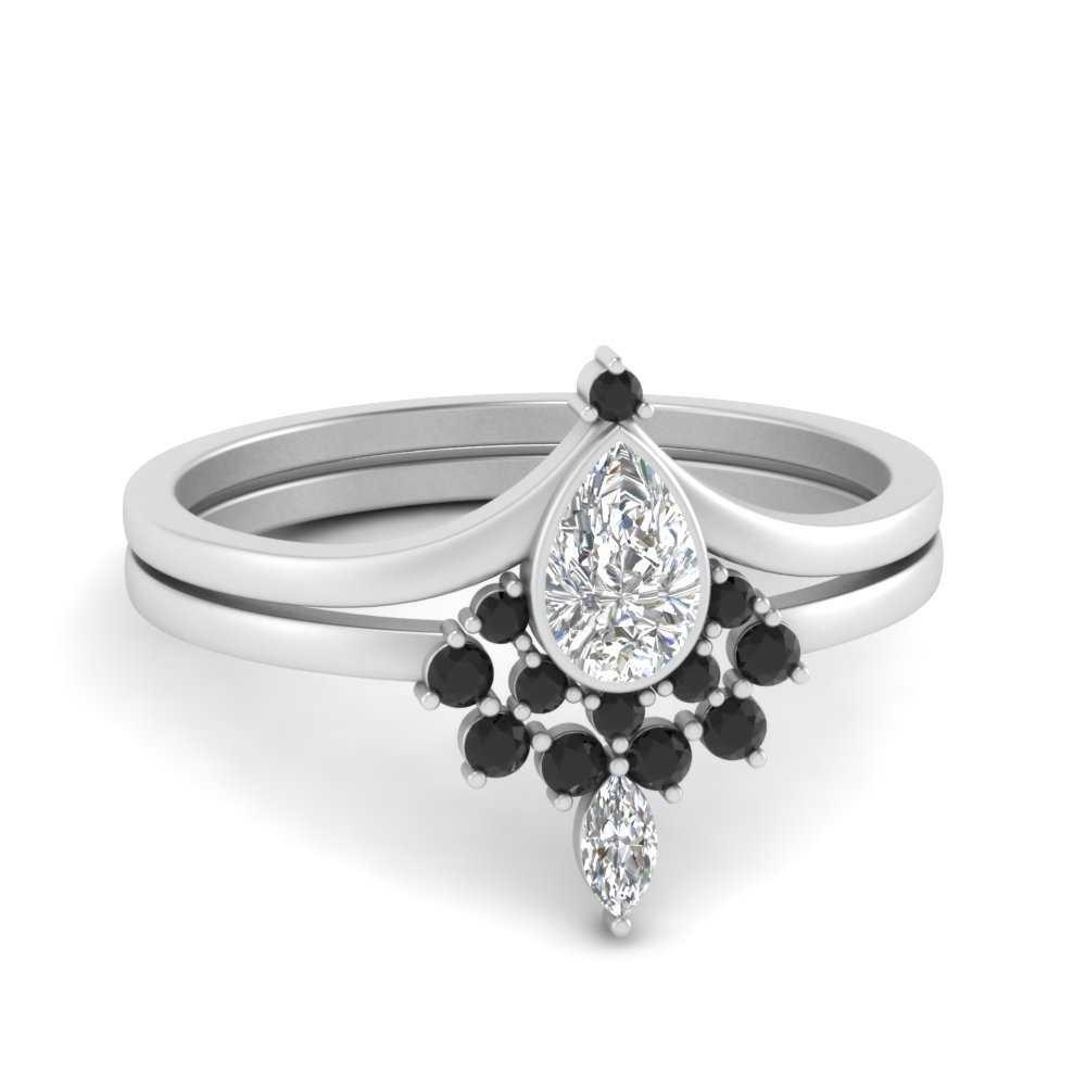 tiara-pear-bezel-black-diamond-wedding-ring-set-in-FD9670PEGBLACK-NL-WG