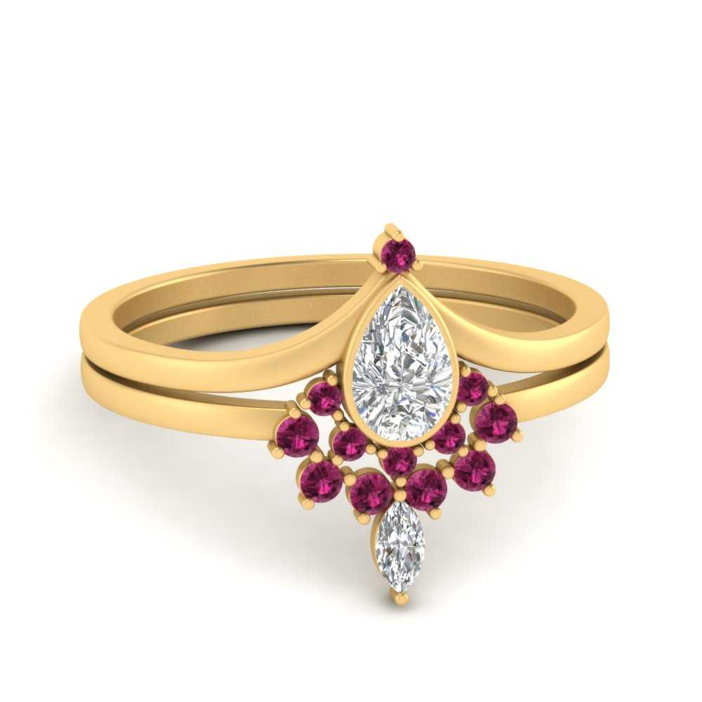tiara-pear-bezel-pink-sapphire-wedding-ring-set-in-FD9670PEGSADRPI-NL-YG