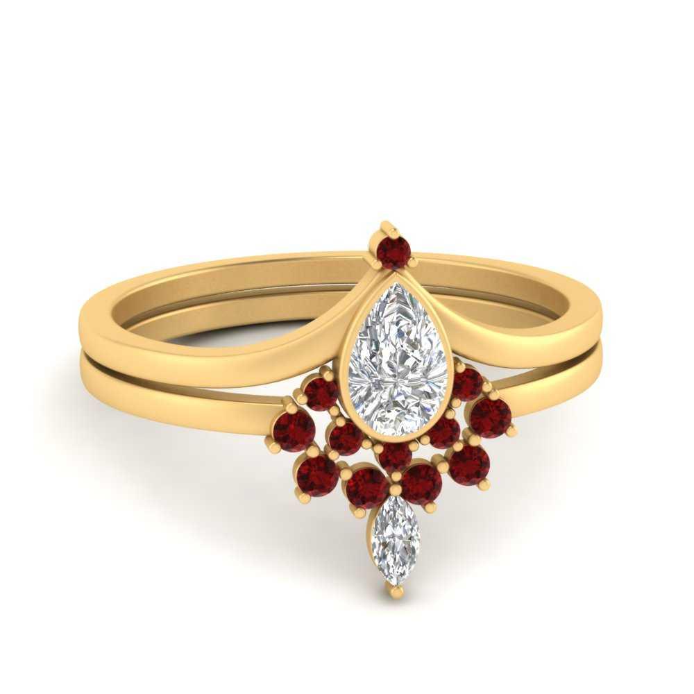 tiara-pear-bezel-ruby-wedding-ring-set-in-FD9670PEGRUDR-NL-YG