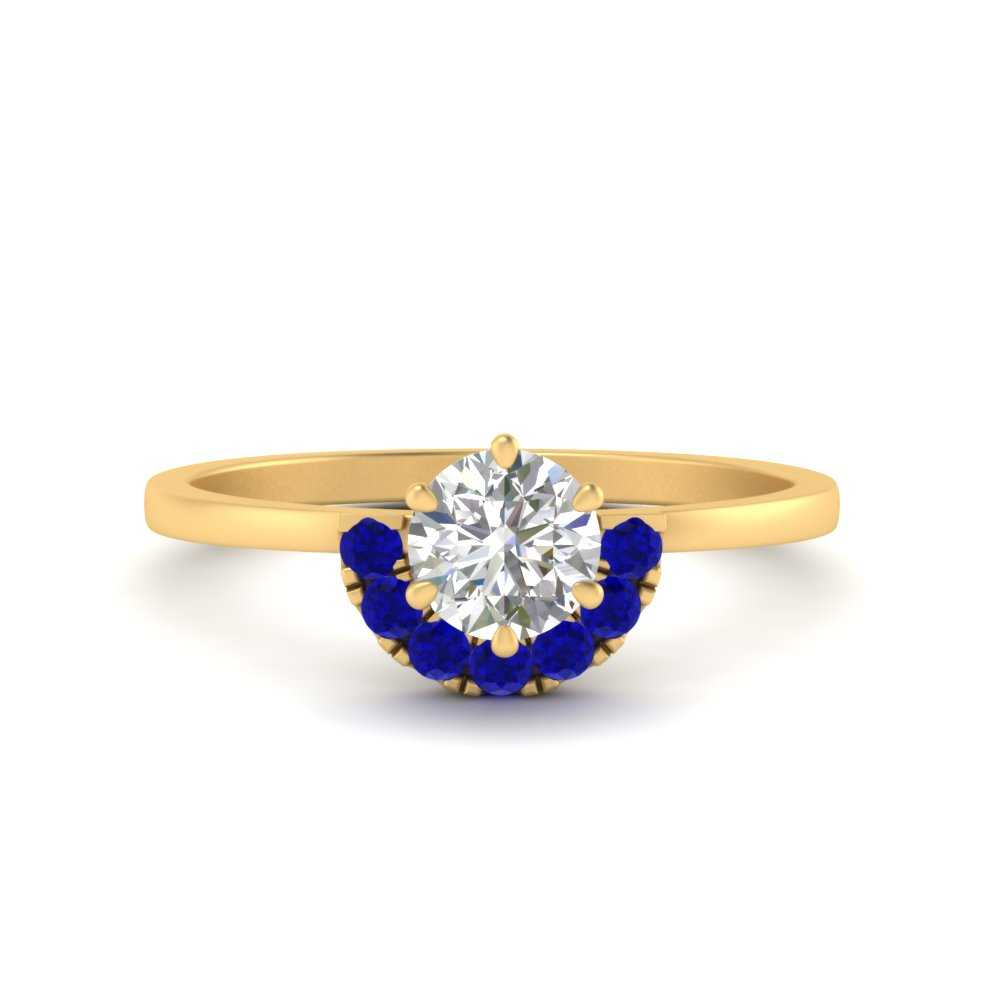 round-crown-sapphire-moissanite engagement-ring-in-FD9689RORGSABL-NL-YG