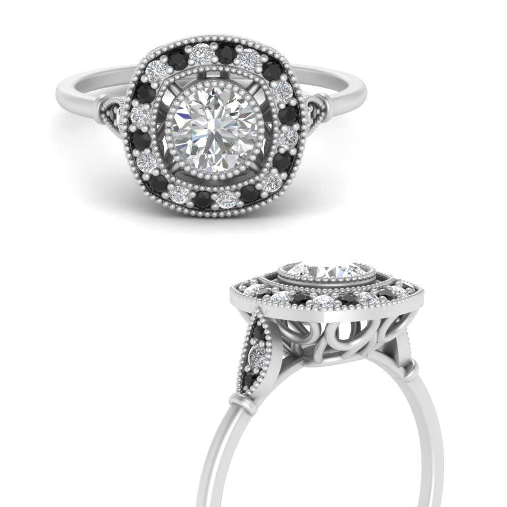 round-bezel-vintage-square-halo-engagement-ring-with-black-diamond-in-FD9727RORGBLACKANGLE3-NL-WG