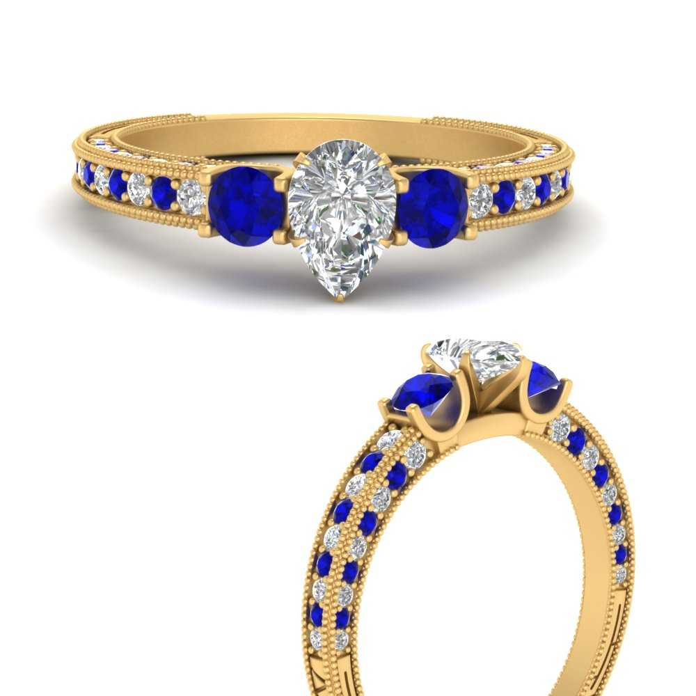 pear-shaped-three-stone-milgrain-diamond-engagement-ring-with-sapphire-in-FD9730PERGSABLANGLE3-NL-YG