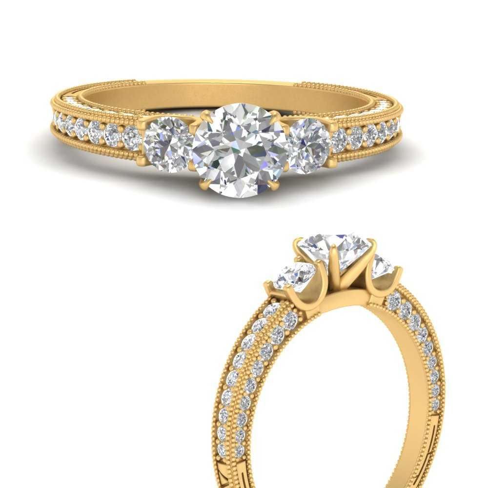round-cut-three-stone-milgrain-diamond-engagement-ring-in-FD9730RORANGLE3-NL-YG