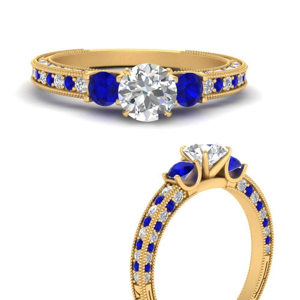 round-cut-three-stone-milgrain-diamond-engagement-ring-with-sapphire-in-FD9730RORGSABLANGLE3-NL-YG