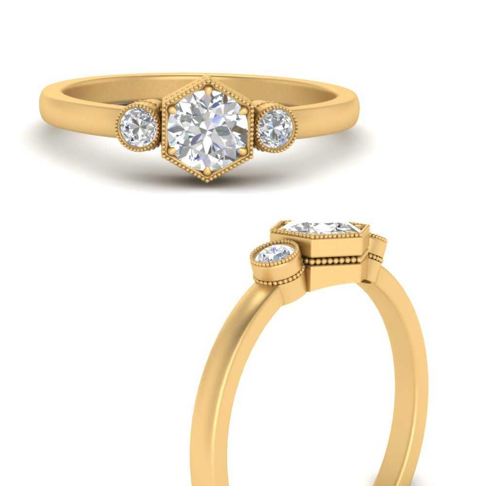 hexagon-bezel-3-round-stone-diamond-engagement-ring-in-FD9744RORANGLE3-NL-YG