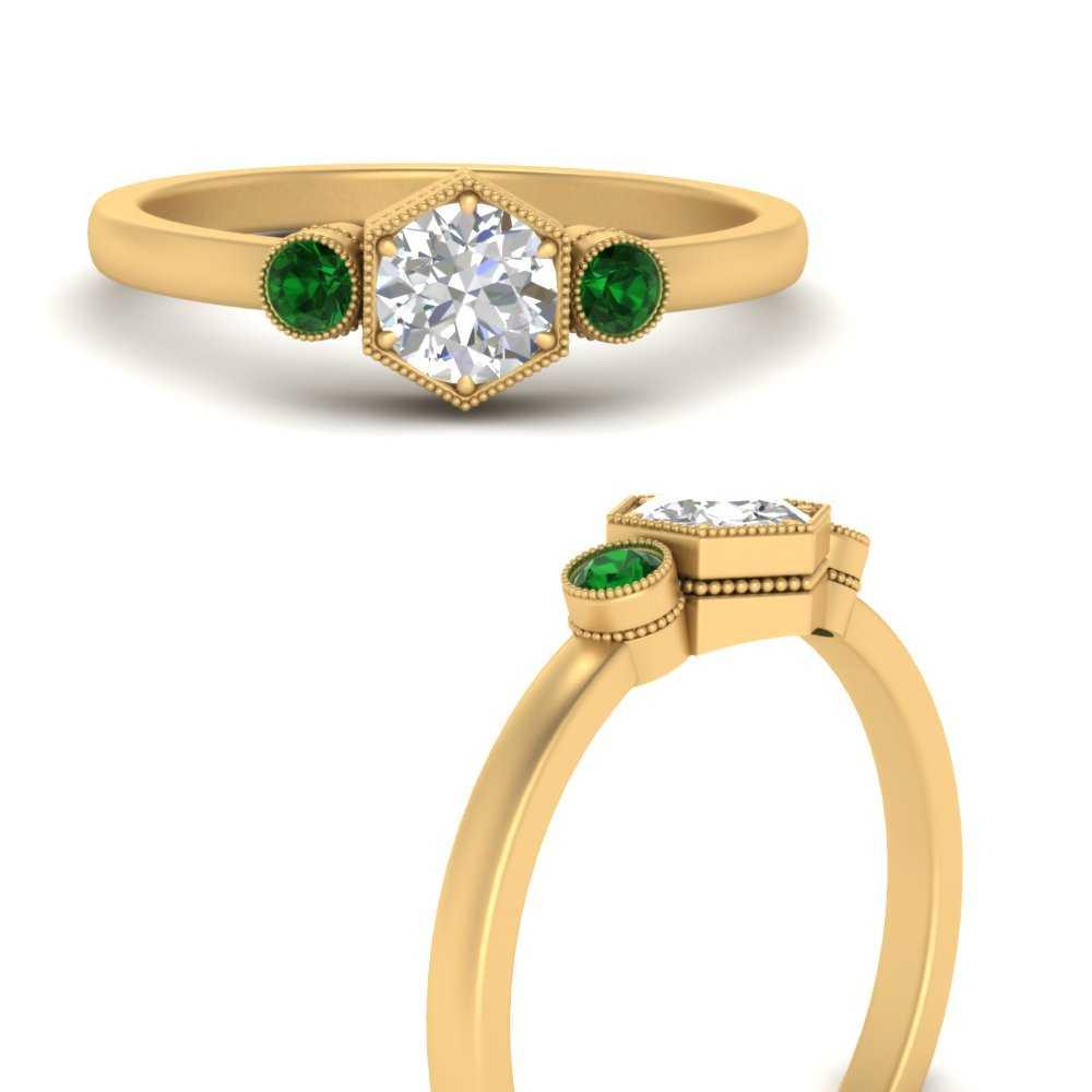 hexagon-bezel-3-round-stone-emerald-engagement-ring-in-FD9744RORGEMGRANGLE3-NL-YG
