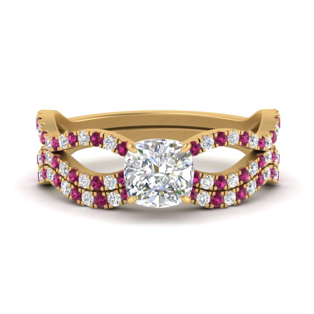 cushion-cut-vintage-twisted-diamond-bridal-ring-set-with-pink-sapphire-in-FD9749CUGSADRPI-NL-YG