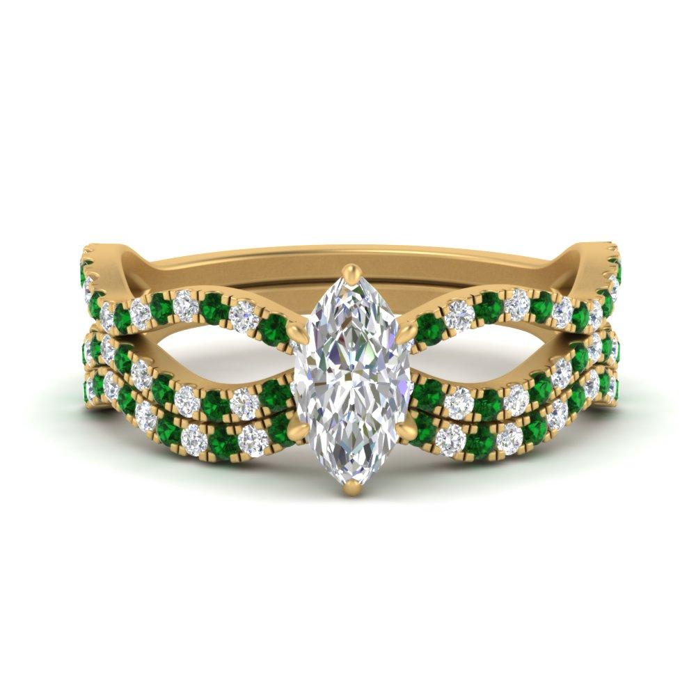 marquise-cut-vintage-twisted-diamond-bridal-ring-set-with-emerald-in-FD9749MQGEMGR-NL-YG