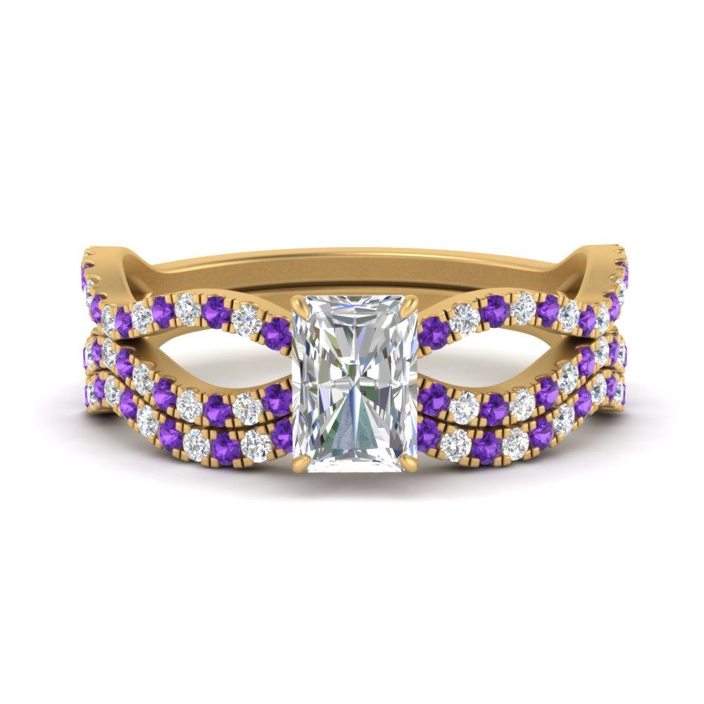 radiant-cut-vintage-twisted-diamond-bridal-ring-set-with-purple-topaz-in-FD9749RAGVITO-NL-YG