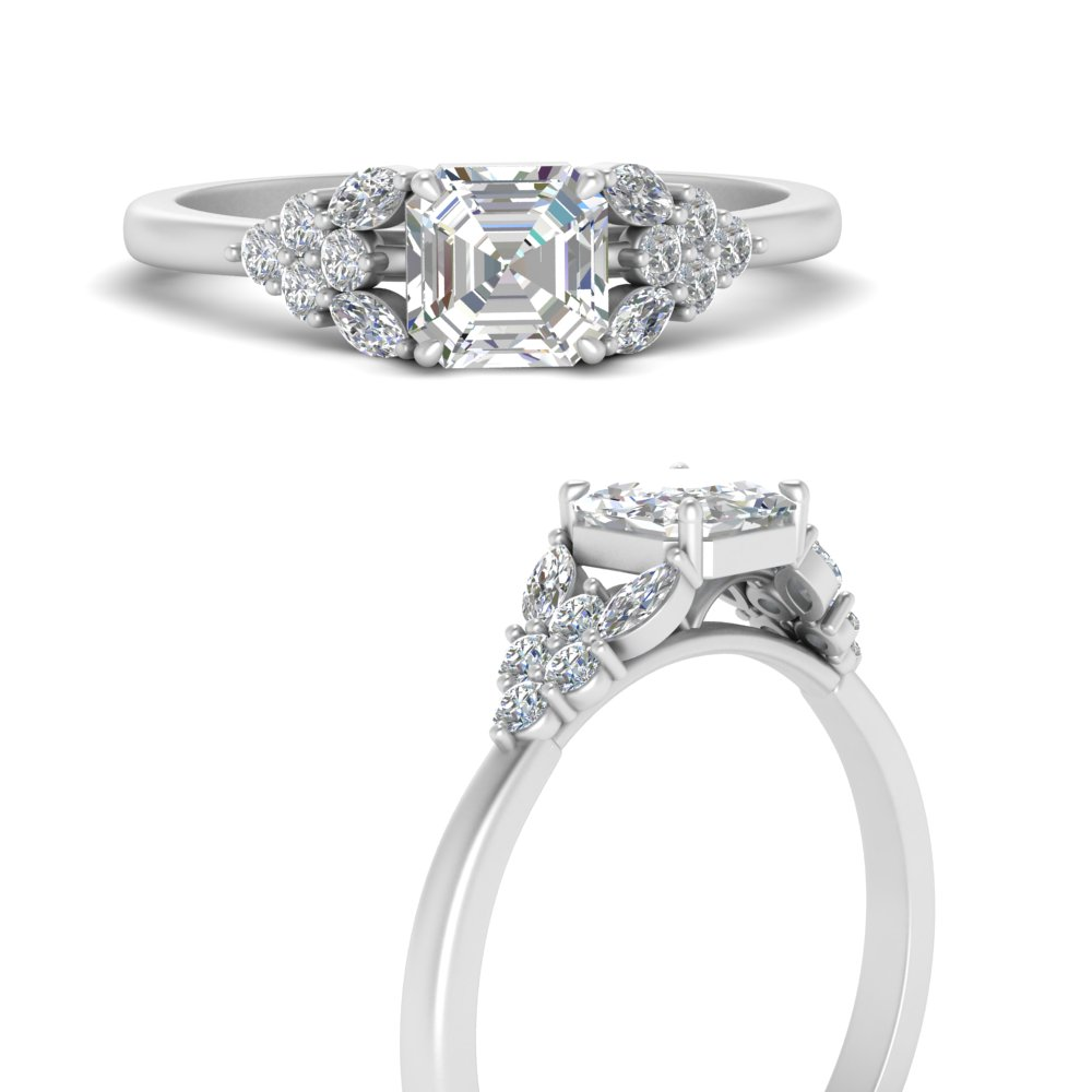 asscher-cut-beautiful-marquise-cluster-diamond-engagement-ring-in-FD9751ASRANGLE3-NL-WG