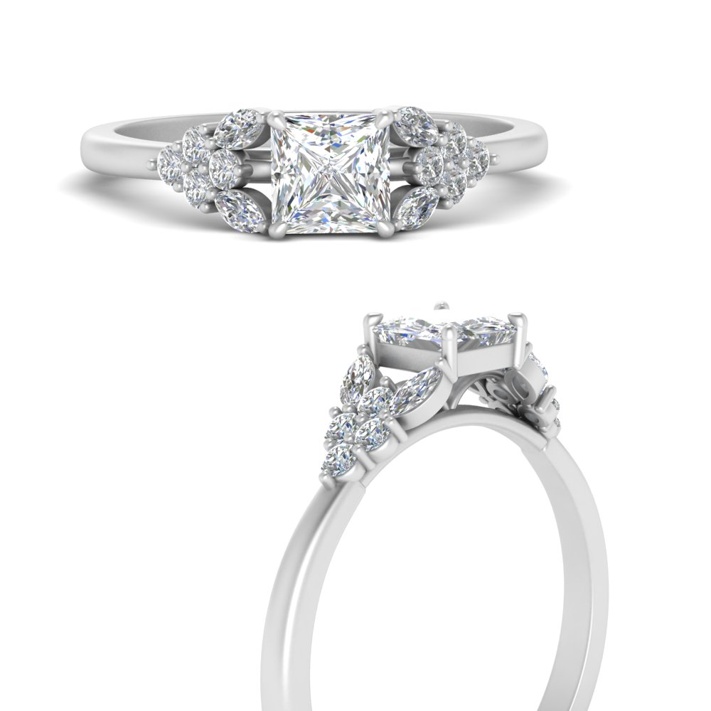 0.67 Ct Marquise Cut Solitaire Diamond Engagement Ring 14K White Gold D Color VVS2 Clarity