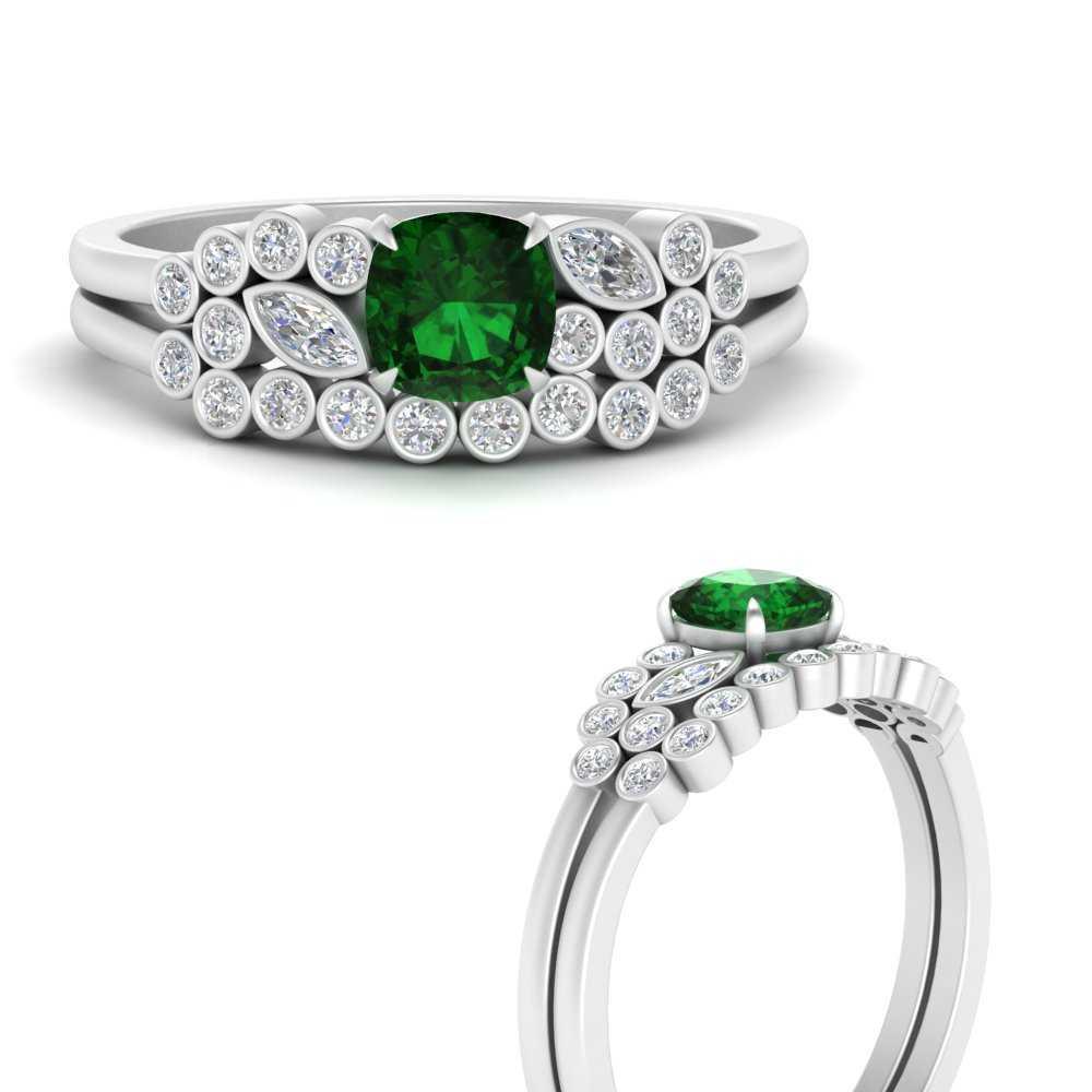 cushion-cut-cluster-emerald-wedding-ring-set-in-FD9777CUGEMGRANGLE3-NL-WG