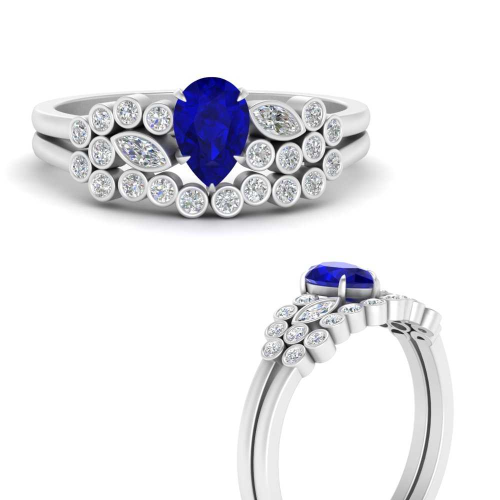 unique-pear-cluster-bezel-sapphire-bridal-ring-set-in-FD9777PEGSABLANGLE3-NL-WG