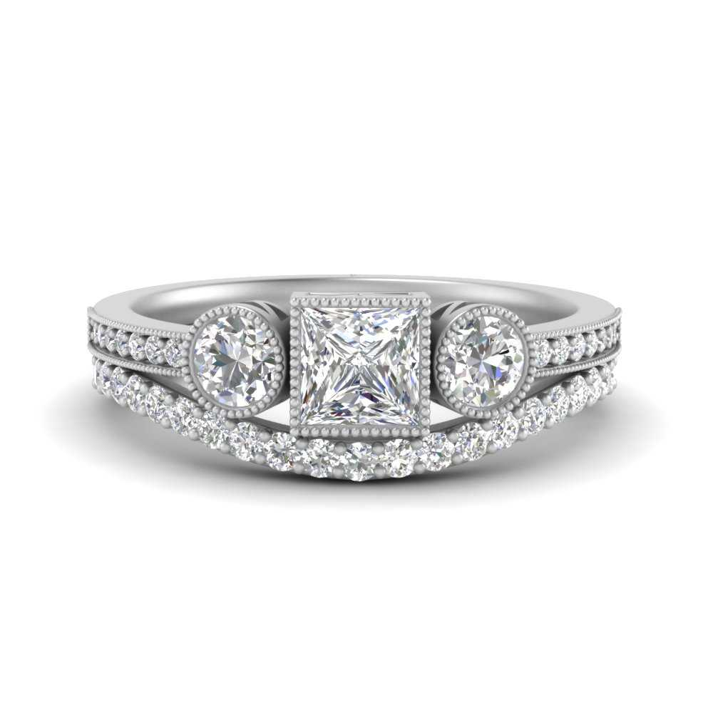 three-stone-princess-cut-bezel-set-diamond-bridal-ring-set-in-FD9800PR-NL-WG