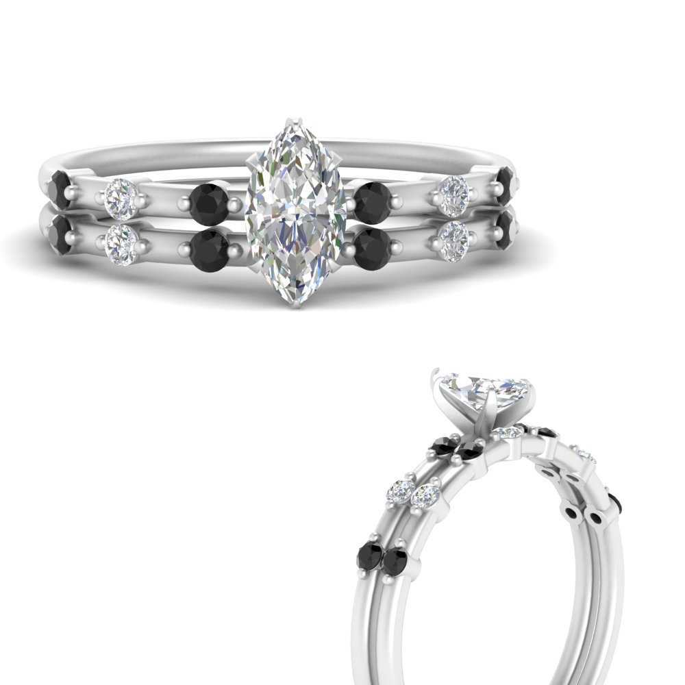 delicate-marquise-cut-bridal-ring-set-with-black-diamond-in-FD9811MQGBLACKANGLE3-NL-WG