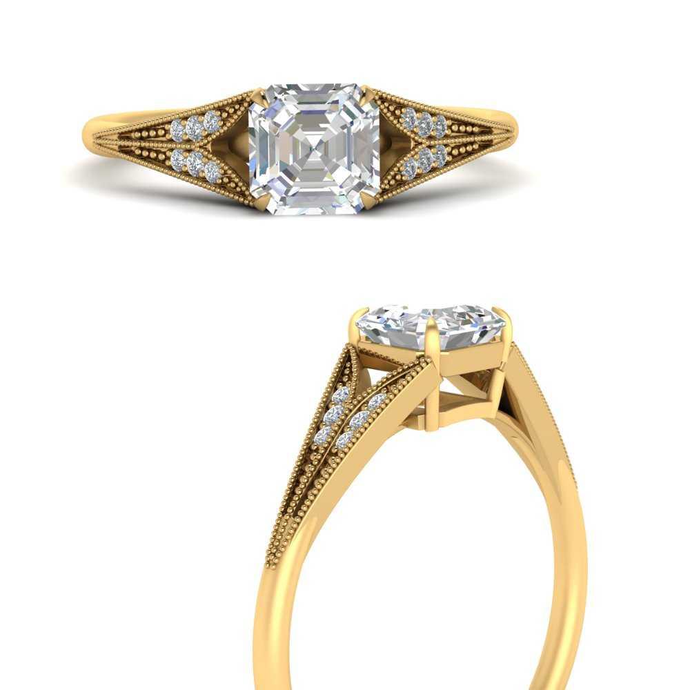 asscher-cut-moissanite-split-shank-antique-engagement-ring-in-FD9813ASRANGLE3-NL-YG
