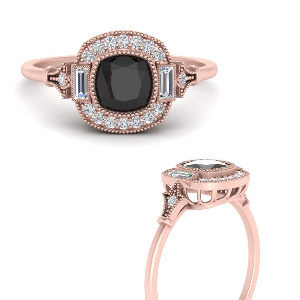 cushion-art-deco-halo-black-diamond-engagement-ring-in-FD9815RORGBLACKANGLE3-NL-RG-GS