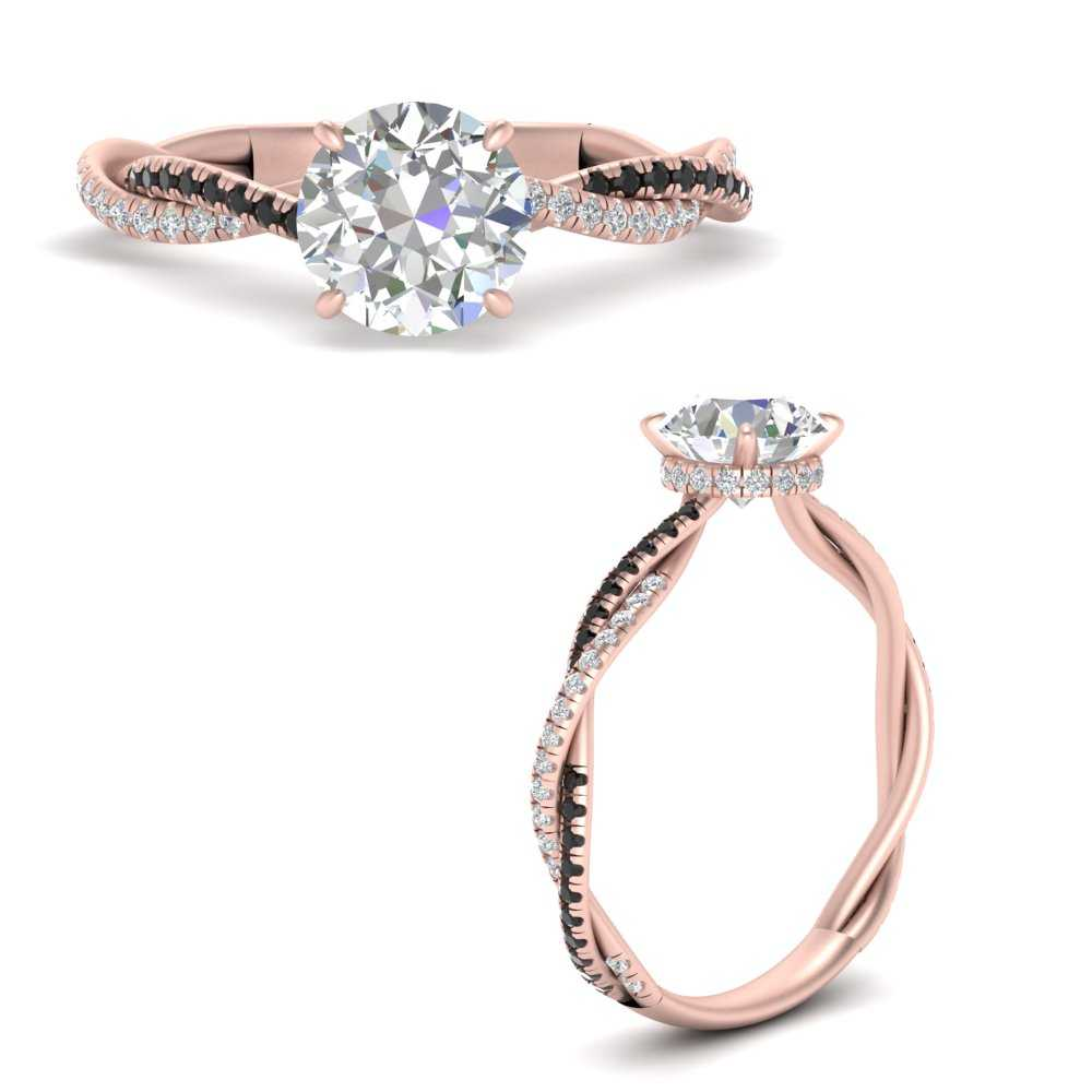 round-cut-twisted-under-halo-pave-engagement-ring-with-black-diamond-in-FD9832RORGBLACKANGLE3-NL-RG