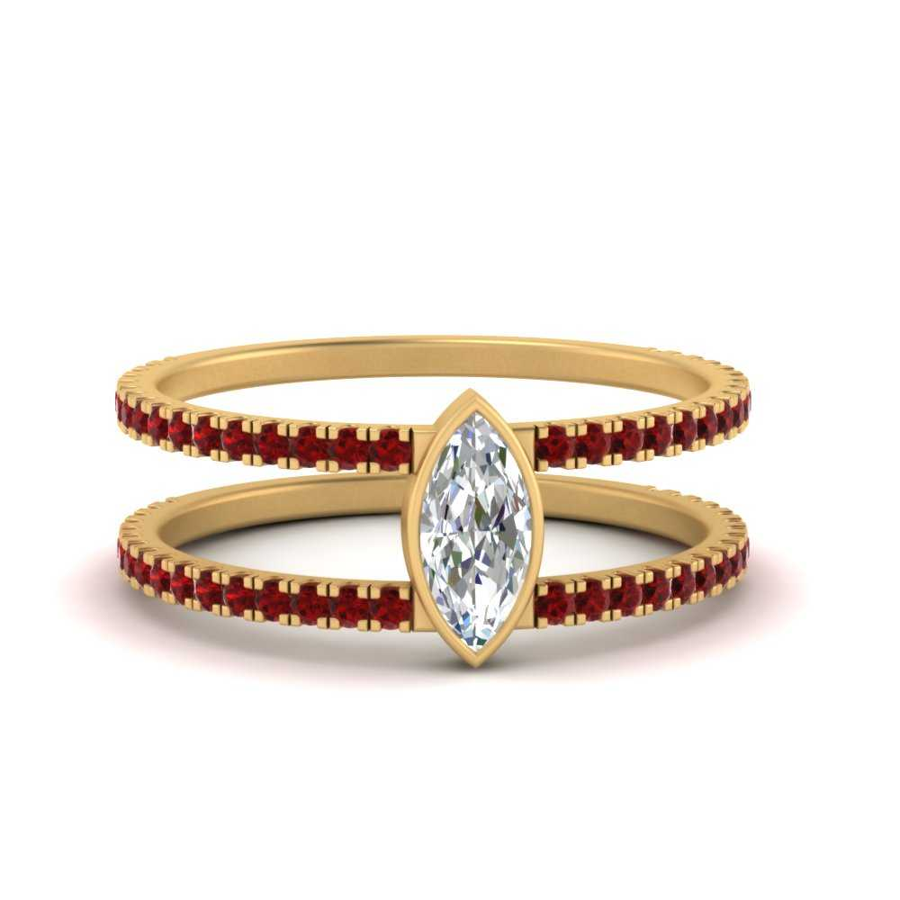 marquise-bezel-set-ruby-moissanite engagement-ring-in-FD9834MQRGRUDR-NL-YG