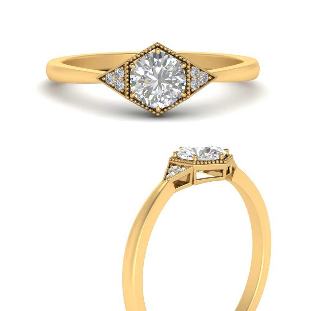 round-hexagon-lab diamond-cluster-engagement-ring-in-FD9845RORANGLE3-NL-YG