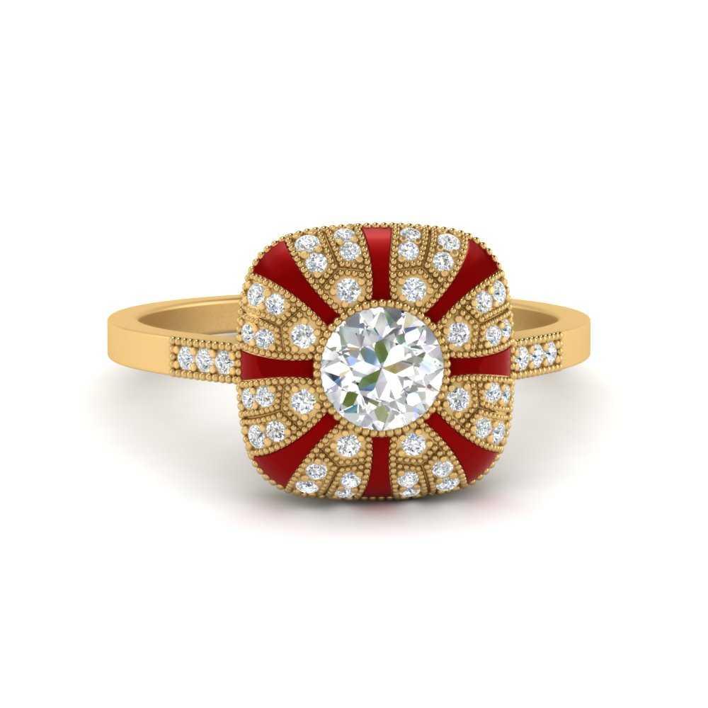 bezel-set-red-enamel-round-big-engagement-ring-in-FD9883RORGRUDR-NL-YG