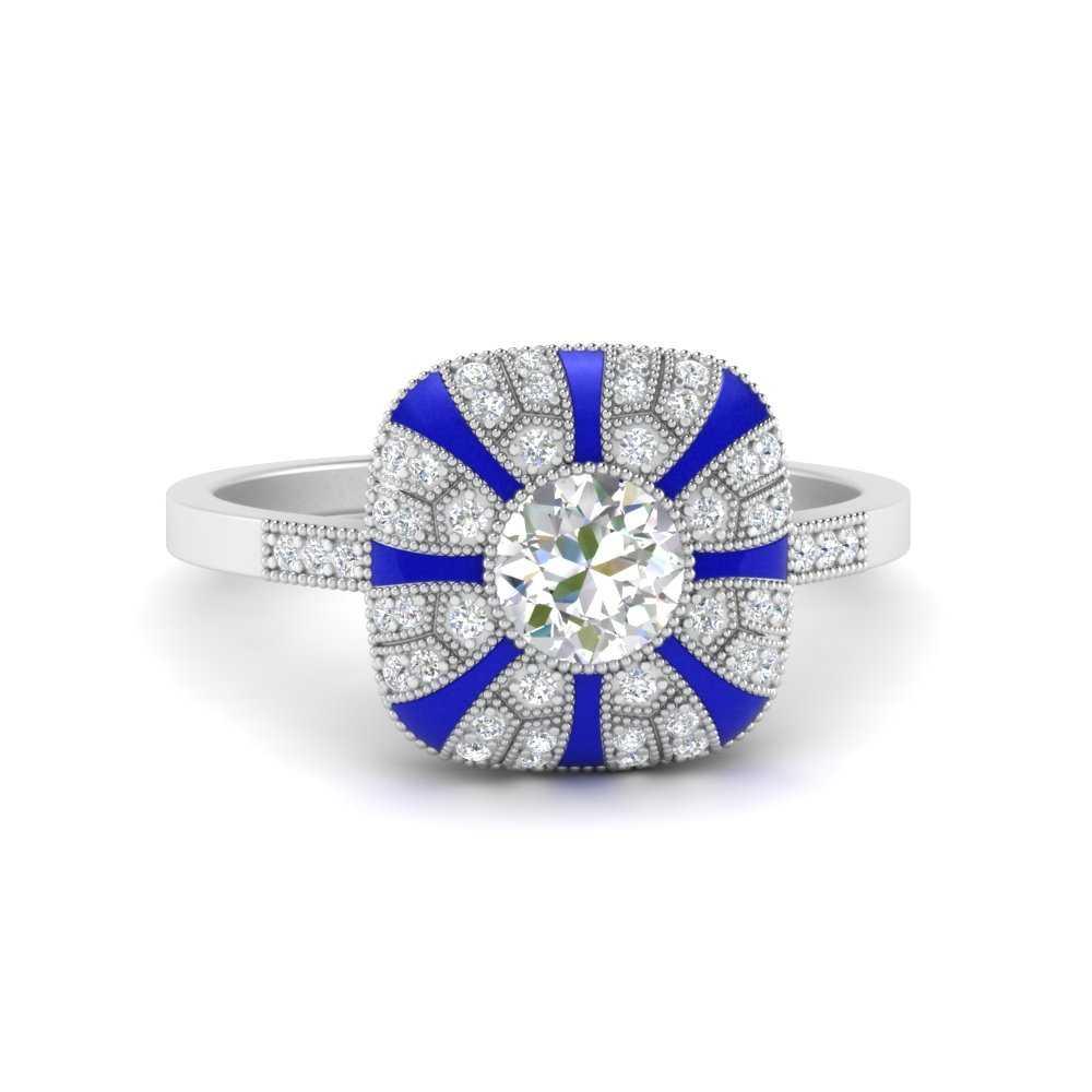 round-vintage-blue-enamel-engagement-ring-in-FD9883RORGSABL-NL-WG