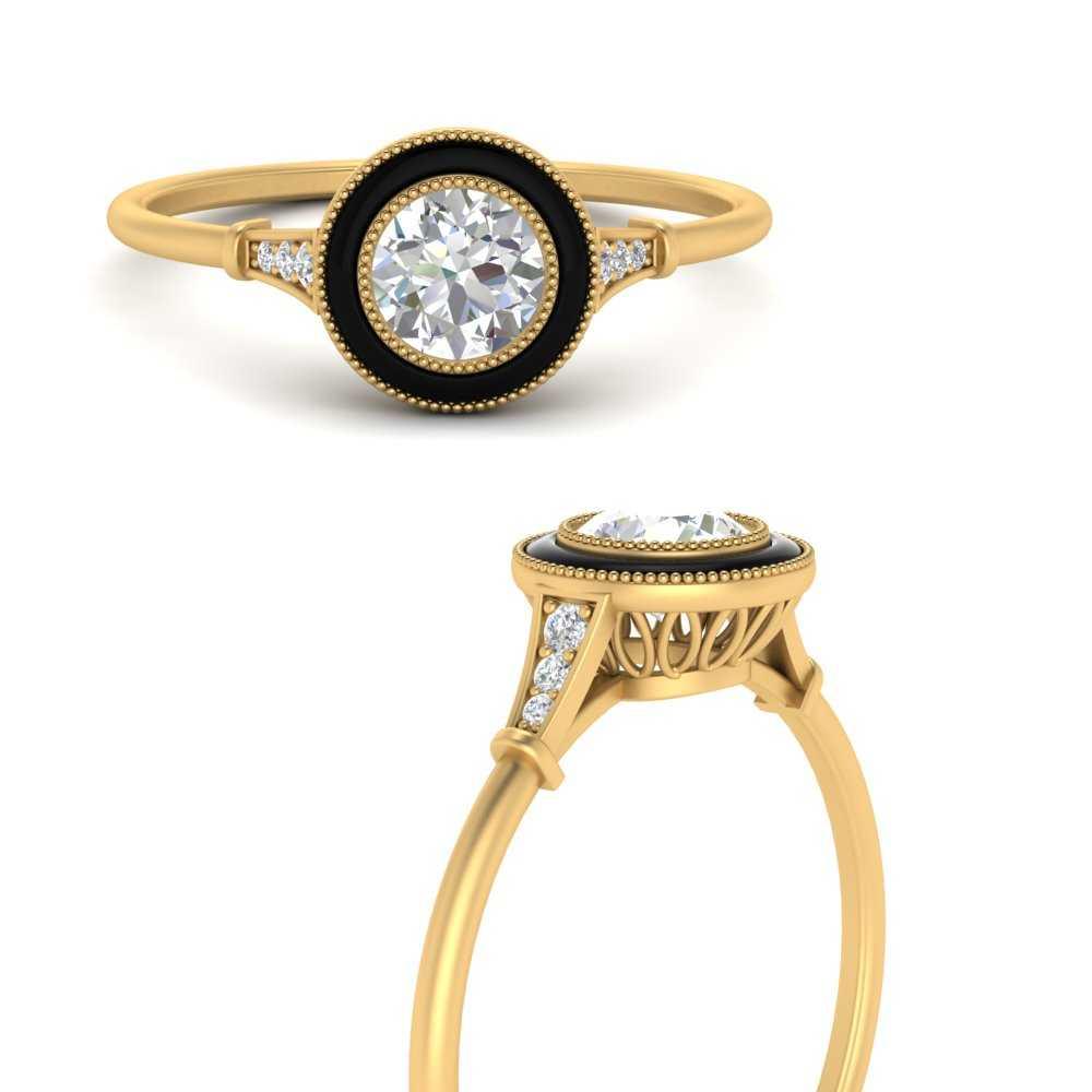 round-enamel-diamond-vintage-style-engagement-ring-in-FD9886RORANGLE3-NL-YG