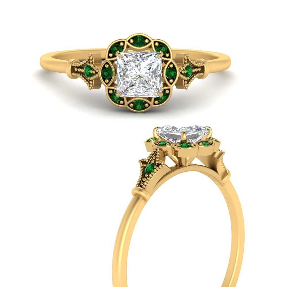 antique-princess-cut-halo-delicate-emerald-engagement-ring-in-FD9896PRRGEMGRANGLE3-NL-YG