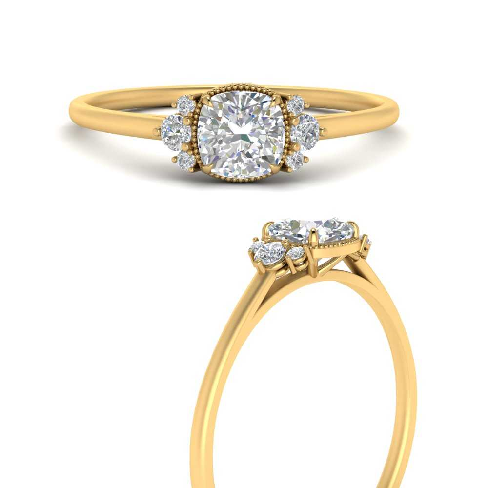 cushion-cut-bezel-milgrain-accented-moissanite engagement-ring-in-FD9898CURANGLE3-NL-YG