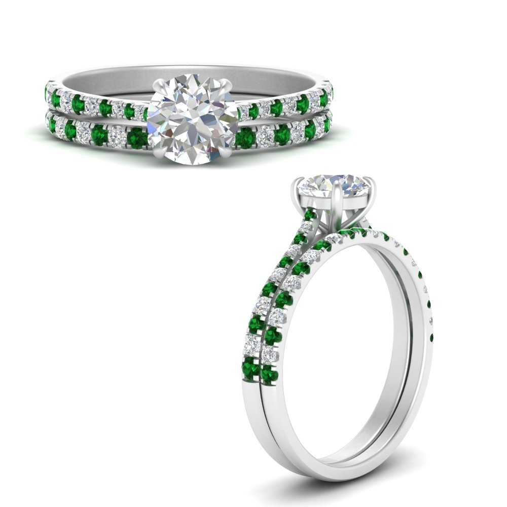 french-pave-classic-engagement-bridal-set-with-emerald-in-FD9918ROGEMGRANGLE3-NL-WG