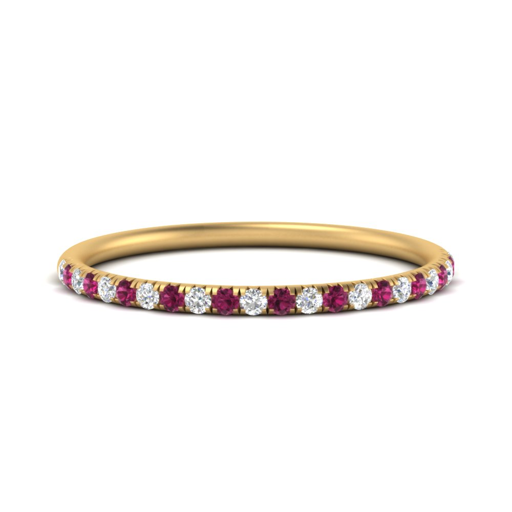 0.18-Ct.-pave-anniversary-stack-diamond-band-with-pink-sapphire-in-FD9949BGSADRPI-NL-YG