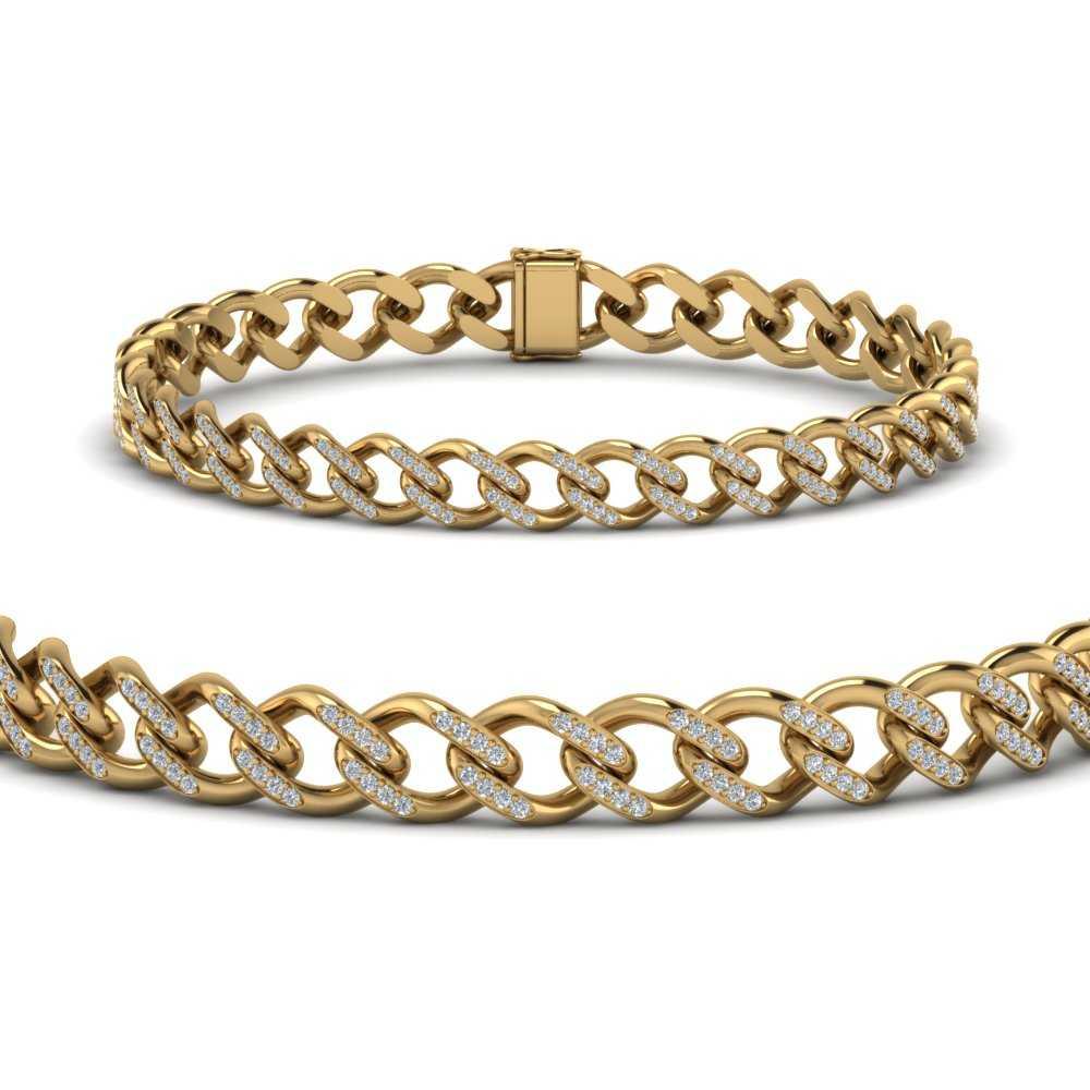 Cuban Diamond Gold Bracelet 9 mm