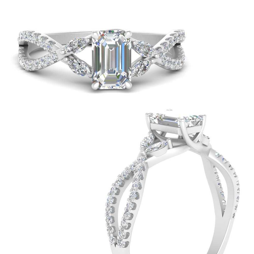 Twisted Split Vine Emerald Cut Diamond Engagement Ring In 14k White Gold Fascinating Diamonds