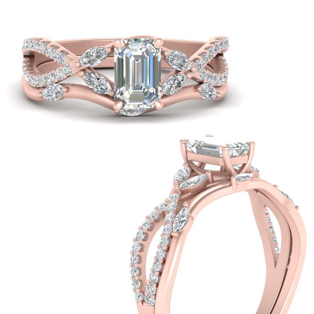 Vine Accented Wedding Ring Set