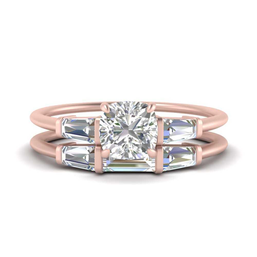 cushion-cut-bar-set-lab diamond-ring-with-matching-3-baguette-wedding-band-in-FDENS100CU-NL-RG