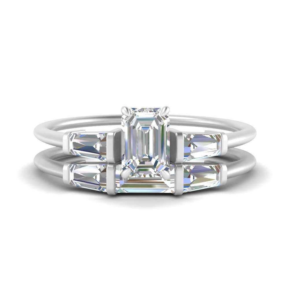 emerald-cut-bar-set-lab diamond-ring-with-matching-3-baguette-wedding-band-in-FDENS100EM-NL-WG