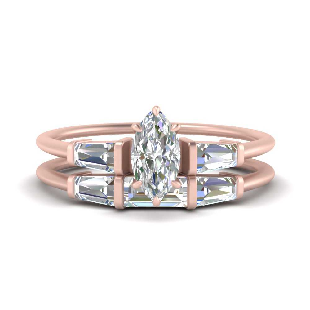 marquise-cut-bar-set-lab diamond-ring-with-matching-3-baguette-wedding-band-in-FDENS100MQ-NL-RG