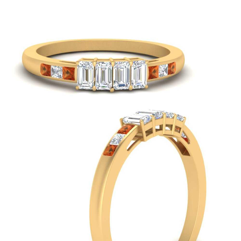 4-emerald-cut-diamond-accents-stone-wedding-band-with-orange-sapphire-in-FDENS207BGSAORANGLE3-NL-YG