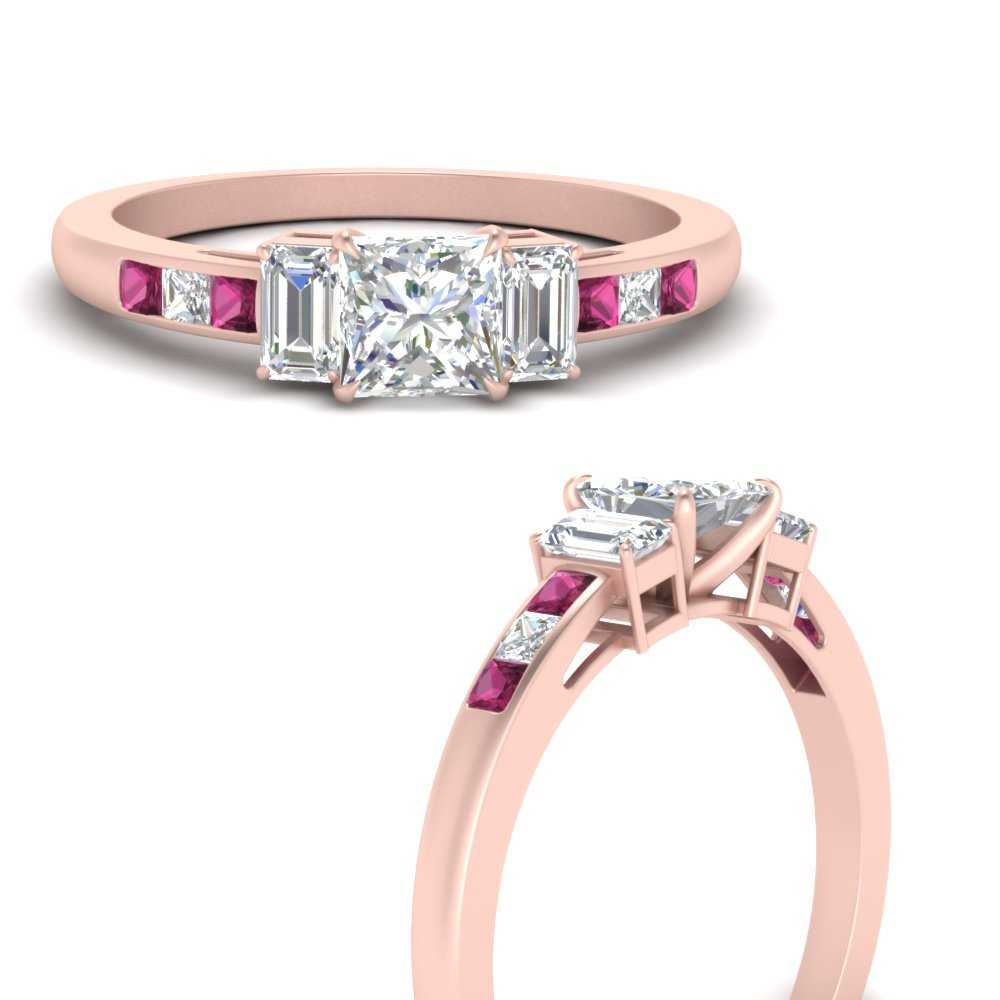 channel-set-3-stone-princess-cut-lab diamond engagement-ring-with-pink-sapphire-in-FDENS207PRRGSADRPIANGLE3-NL-RG