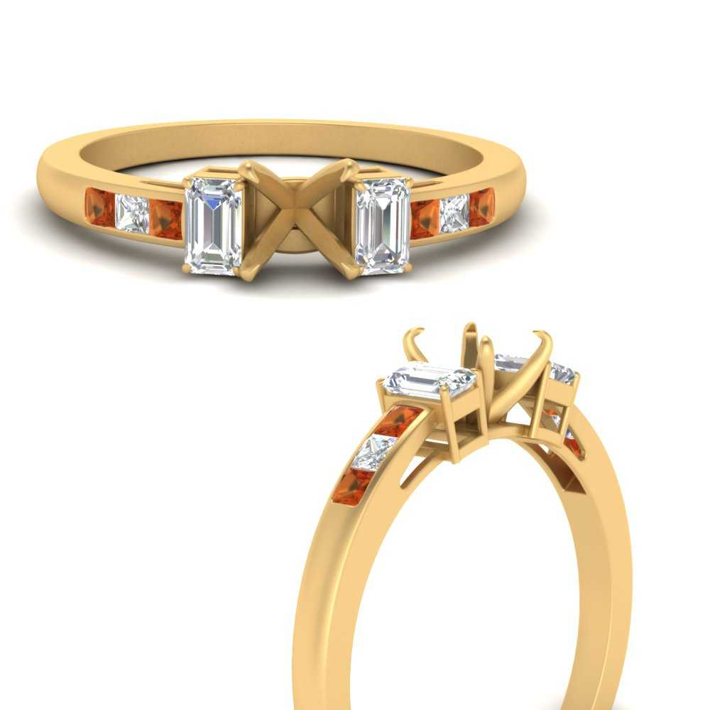 channel-set-3-stone-semi-mount-engagement-ring-with-orange-sapphire-in-FDENS207SMRGSAORANGLE3-NL-YG
